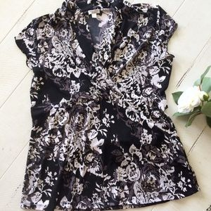 Gray and White Floral Black Blouse with Tie